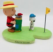 Scratch Golfer Peanuts Gallery Hallmark New Mint Coa Limited Time Edition Snoopy