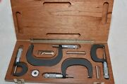 Brown And Sharpe 0- 4 Range, 4 Pieces Od Outside Micrometer W/ Box New