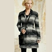Peruvian Connection Winter Wool Black And Gray Ombré Coat Sz 10 485