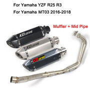 Motocycle Full Exhaust System Pipe Tips For Yamaha Yzf R3 R25 Mt03 Slip On 51mm