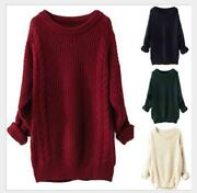Loose Women Warm Knitted Crew Neck Long Sleeve Winter Pullover Long Sweater Tops