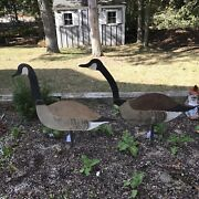 2 Vintage Hand Crafted Board Silhouette Painted Goose Decoy Hunting Decoys
