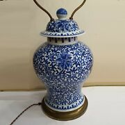 Antique Chinese Blue And White Porcelain Vase - Lamp 19th Century. There Stampe