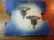 2 Vintage Wwii U.s. Army Medical Services Pins On Card