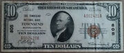 Rare Townsend Ma 1929 10 National Currency Bank Note Massachusetts Charter 805
