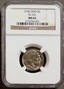 Rare Gem Ms-65 1936 Buffalo Nickel Double Die Obverse Fs -101 Only 5 Graded