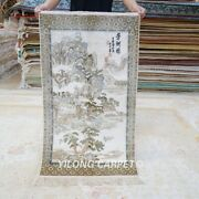 Yilong 2and039x3.5and039 Handmade Silk Carpet Mountain Tree Tapestry Floral Rug L027h
