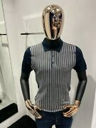 Legendary Brioni Silk Striped Polo Shirt Size 50 / M 100 Authentic And New