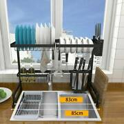 Over The Sink Dish Drying Rack Metal Kitchen Cutlery Holder Shelf