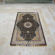Yilong 3and039x5.4and039 Handmade Silk Rug Family Home Antistatic Floral Carpet Tj151a