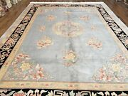 8and039 6 X 11and039 5 Vintage Hand Made Chinese Carving Sculpture Wool Rug Flowers Nice