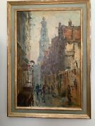 Antique Oil Painting Jan Korthals View Of Westertoren Amsterdam Reduced