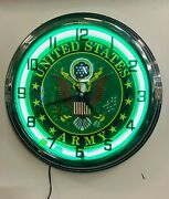 17 Red Us Army United States Marine Corps Neon Sign Wall Clock New