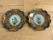 Large Pair Set 12d Japanese Meiji Cloisonne Charger Lobbed Flowers Butterfly