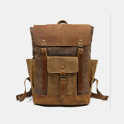 Men Retro Vintage Canvas Leather Backpack Sports Climbing Bag Travel Anti-theft