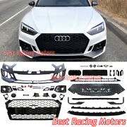 Rs5 Style Front Bumper + Black Grille Fits 18-19 Audi A5 S5 B9 Chassis Only