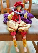 Vintage Hanging Elf/fairy With Brown Bottoms, Red Top With Purple Cape Figurine
