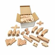 Tiny Conductors Wooden Train Set - 52-piece Train Track Collection Compatible...