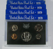 5 1970 S Silver Proof Sets Ogp Coins Kennedy Lincoln Jefferson Lot Collection