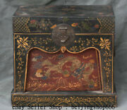 15 Old Chinese Wood Lacquerware Painting Dynasty Dragon Treasure Chest Box