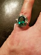 3.30 Ct Russian Emerald And Diamond 10kt Solid White Gold Ring Size 7