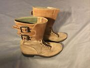 Vtg 1940s Wwii Us Army M1944 Combat Service Boots Double Buckle Sz 8 B Stamped