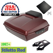 Stiletto Red Chopped Tour Pack 2-up Mounting Bracket Rack For 1997-2020 Harley