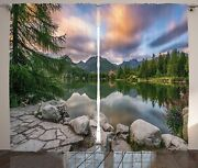 Ambesonne Mountain Curtains, Idyllic View With Tree On Still Lake Surrounded By