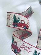 Burlap Wired Ribbon Wreath Merry Christmas 2.5 Inches Wide 5 Yards Or 10 Yards