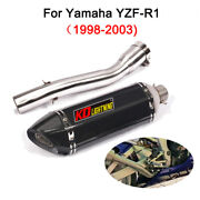 51mm Motocycle Exhaust Muffler Pipe Mid Link Tube For Yamaha Yzf-r1 1998-2003