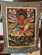 Antique Chinese Collection Buddha Silk Tapestry Hand Embroidery Tangka 23 X 33