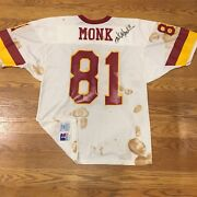 Vntg Signed Nfl Washington Redskins Art Monk Jersey By Russell 90s Retro Skins