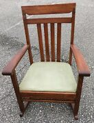 Antique Arts And Crafts Mission Oak Rocking Chair