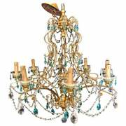 Neoclassical Handcrafted Italian Gilt Metal And Crystal Chandelier