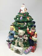 Spode Christmas Tree Cookie Jar Hand Painted Santa Toys Gifts Dolls 12.5
