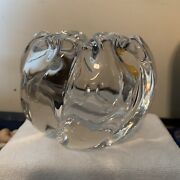 Orrefors Signed And Numbered/dated Clear Crystal Art Glass Rose Bowl