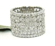 Natural Round Diamond Criss Cross Cluster Wide Ring Band 14k White Gold 1.54ct