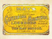 May's Glycerine Menthol Lozenges Cough Drop Advertising Metal Tin Sign Wall Art