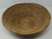 Alaskan Native American Coiled Sweet Grass Large Flat Round Basket 13.5 X 4