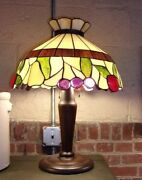 Antique Lamp-vintage Stained Leaded Glass-selling Out