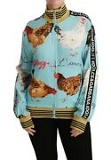 Dolce And Gabbana Sweater Blue Zipper Rooster Chicken Top It38 / Us4/xs Rrp 1500