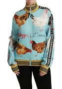 Dolce And Gabbana Sweater Blue Zipper Rooster Chicken Top It40 / Us6 / S Rrp 1500