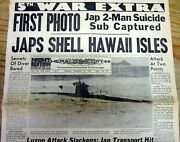 Best Dec 1941 Newspaper Japan Attacks Hawaii With A Suicide Submarine 1st Photos