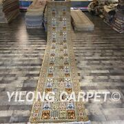 Yilong 2.5and039x14and039 Long Hand Knotted Silk Lobby Carpet Garden Scene Rug Runner 089c