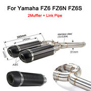 51 Mm Motocycle Exhaust Muffler Pipe Slip On Mid Link Pipe For Yamaha Fz6 Fz6n/s