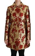Dolce And Gabbana Jacket Coat Red Gold Floral Brocade Cape It40 / Us6/ S Rrp 4400
