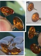 14k Faceted Baltic Amber Stud Earrings - Solid Gold Posts - Antique 13 Mm Amber