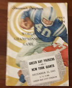 1961 Gb Packers Vs Ny Giants World Championship Football Program As Is As Shown
