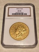 1856-s Xf45 Ngc Liberty Double Eagle Type 1 20 Gold Coin Pq Very Nice No Pcgs