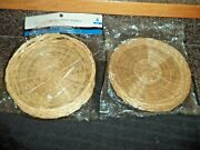 New Bamboo / Wicker Paper Plate Holders 2 Packs Of 4 Each, 8 Total